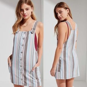BDG Pastel Striped Button Front Overall Dress